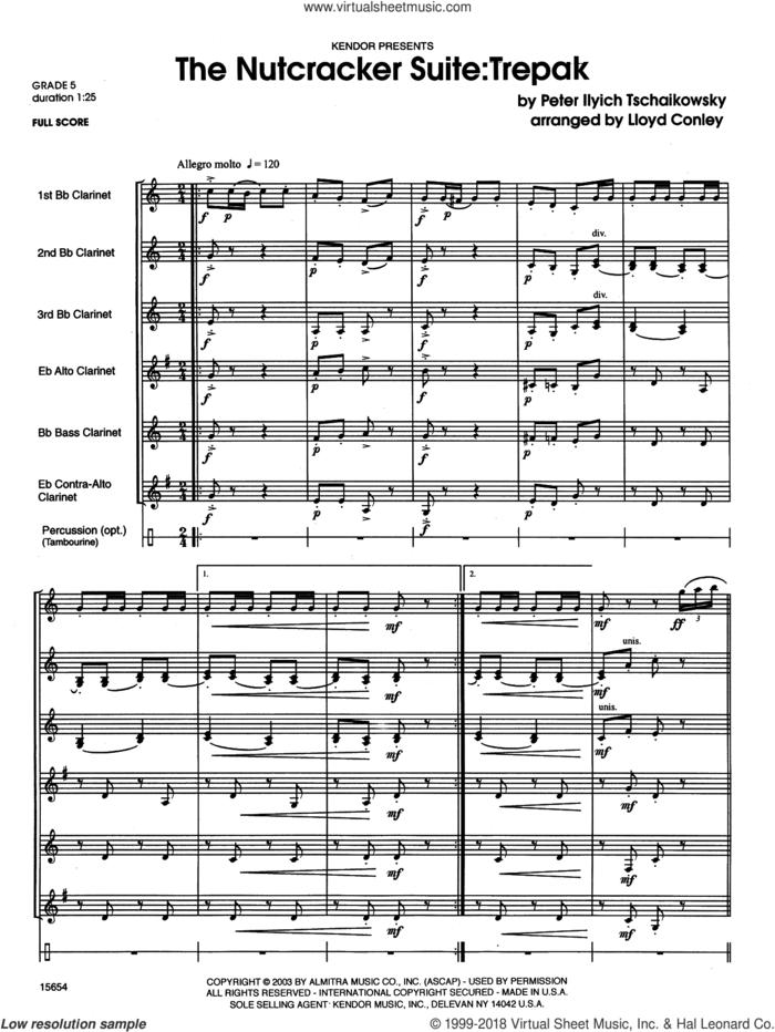 The Nutcracker Suite: Trepak (COMPLETE) sheet music for clarinet ensemble by Pyotr Ilyich Tchaikovsky and Lloyd Conley, classical score, intermediate skill level