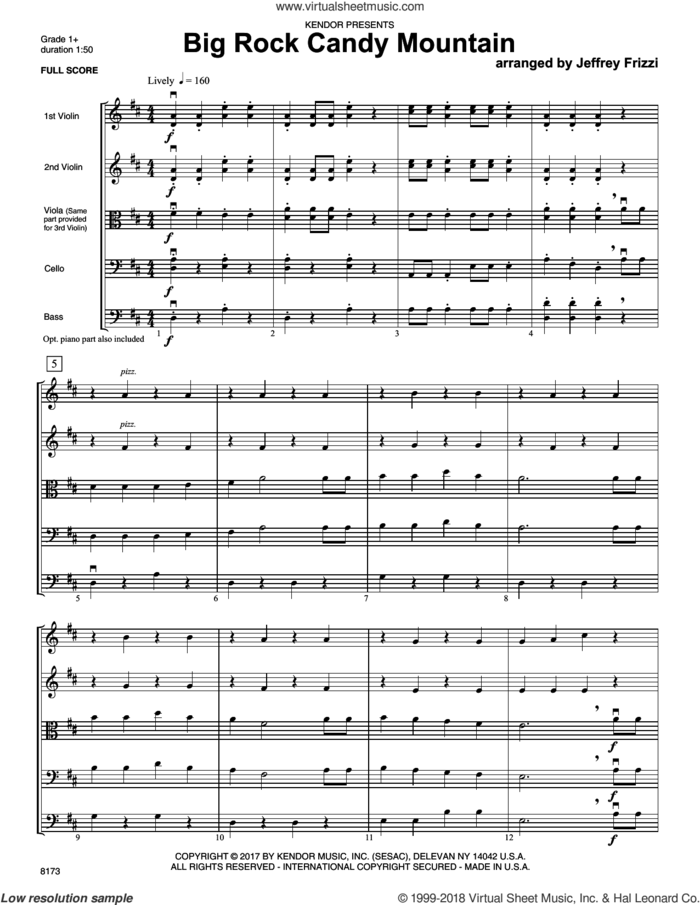 Big Rock Candy Mountain (COMPLETE) sheet music for orchestra by Jeff Frizzi and Miscellaneous, intermediate skill level