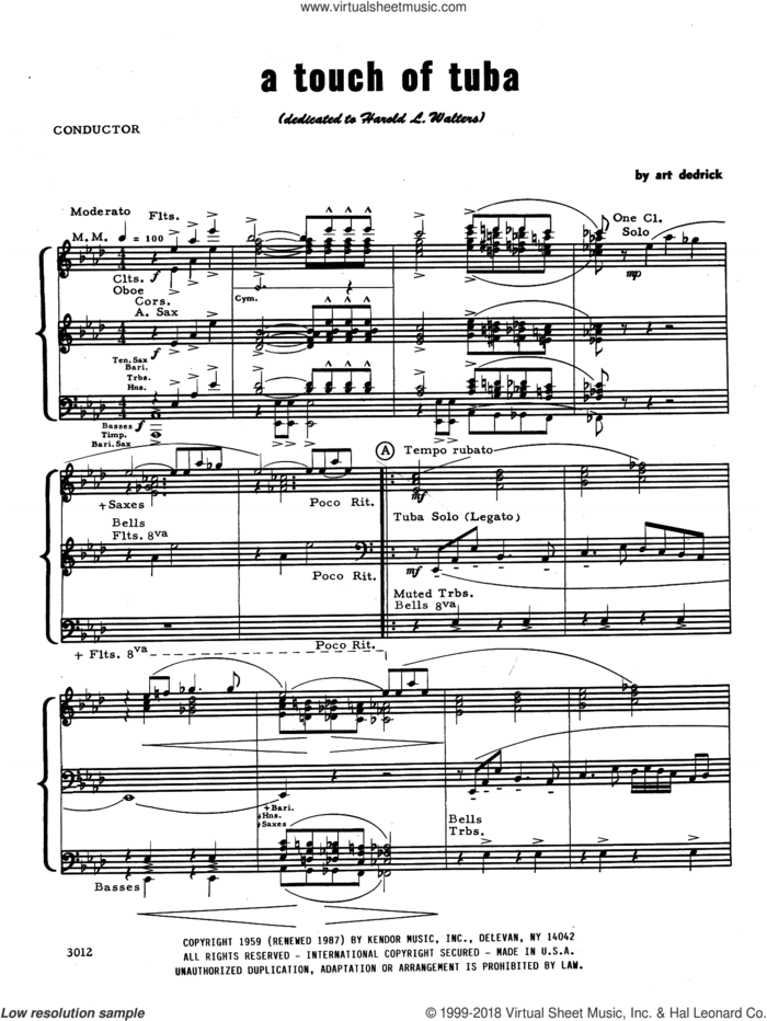 A Touch Of Tuba (COMPLETE) sheet music for concert band by Art Dedrick, intermediate skill level