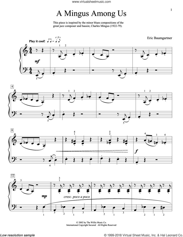 A Mingus Among Us sheet music for piano solo (elementary) by Eric Baumgartner, beginner piano (elementary)
