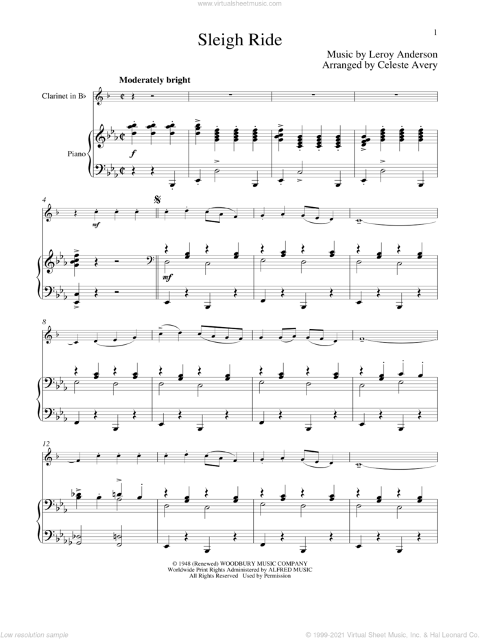 Sleigh Ride sheet music for clarinet and piano by Leroy Anderson and Mitchell Parish, classical score, intermediate skill level