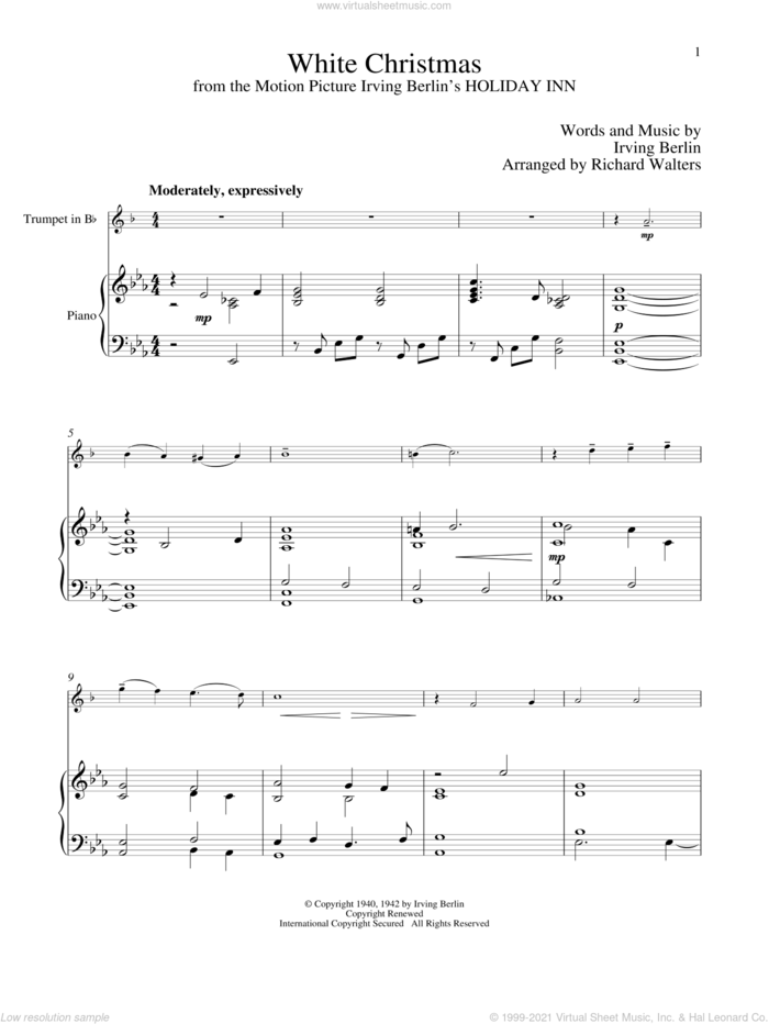 White Christmas sheet music for trumpet and piano by Irving Berlin, classical score, intermediate skill level