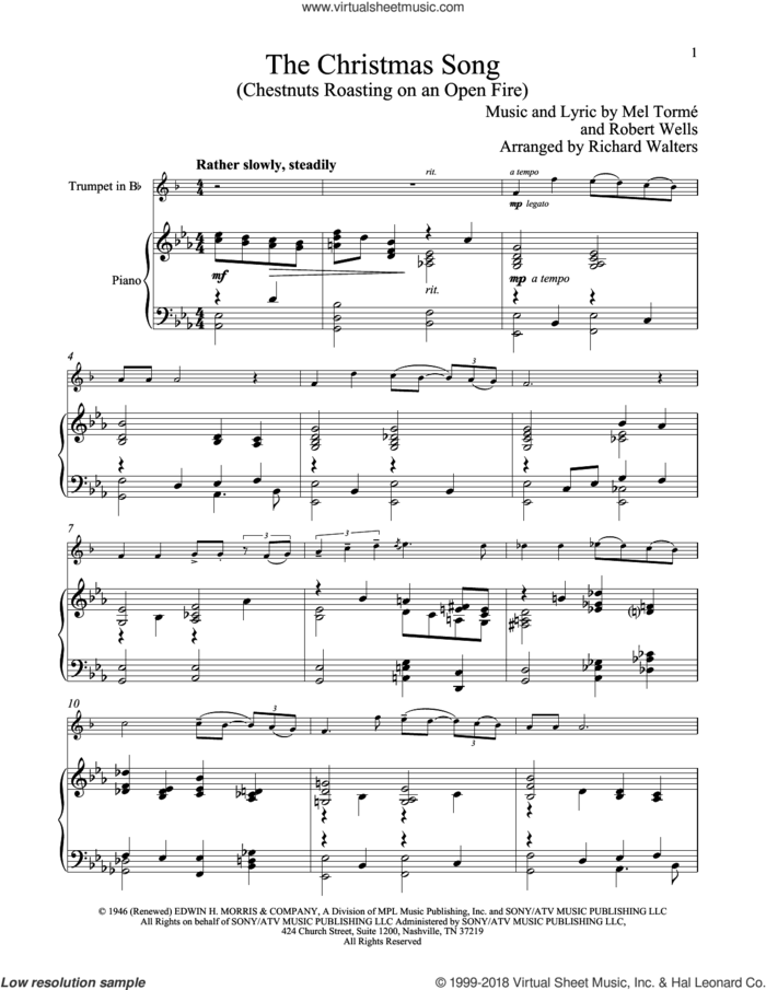 The Christmas Song (Chestnuts Roasting On An Open Fire) sheet music for trumpet and piano by Mel Torme, Mel Torme and Robert Wells, classical score, intermediate skill level