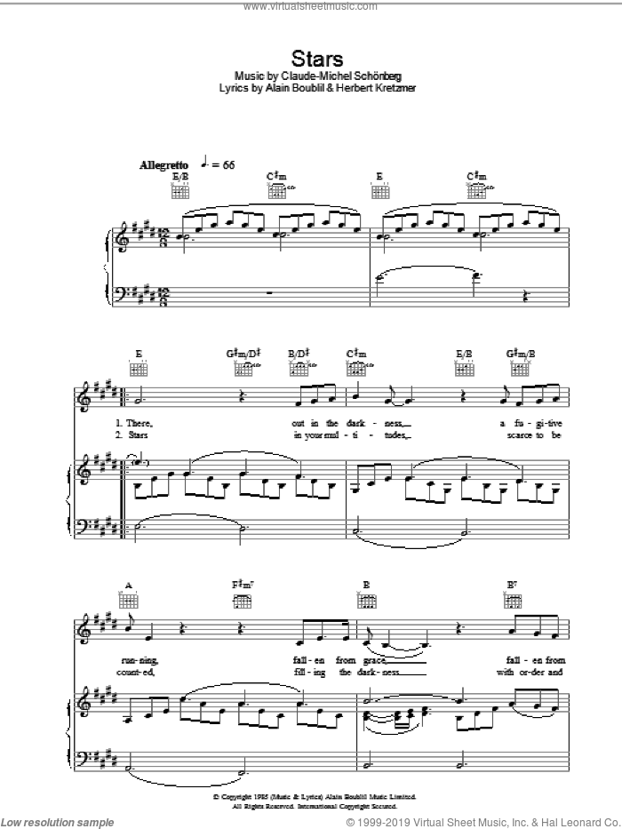 Stars sheet music for voice, piano or guitar by Alain Boublil, Les Miserables (Musical), Claude-Michel Schonberg and Herbert Kretzmer, intermediate skill level