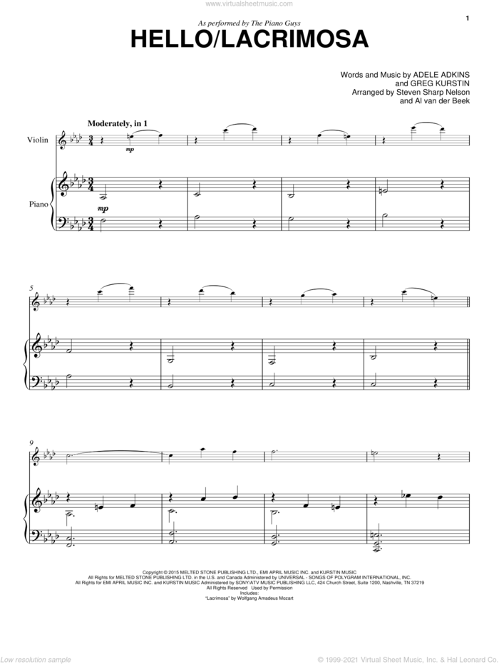 Hello/Lacrimosa sheet music for violin and piano by The Piano Guys, Adele, Adele Adkins and Greg Kurstin, intermediate skill level