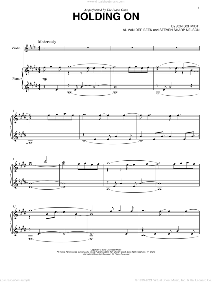 Holding On sheet music for violin and piano by The Piano Guys, Al van der Beek, Jon Schmidt and Steven Sharp Nelson, intermediate skill level