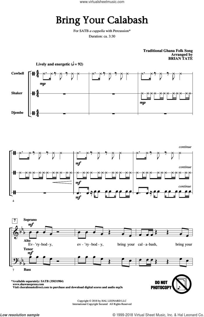 Bring Your Calabash sheet music for choir (SATB: soprano, alto, tenor, bass) by Brian Tate and Traditional Ghana Folk Song, intermediate skill level
