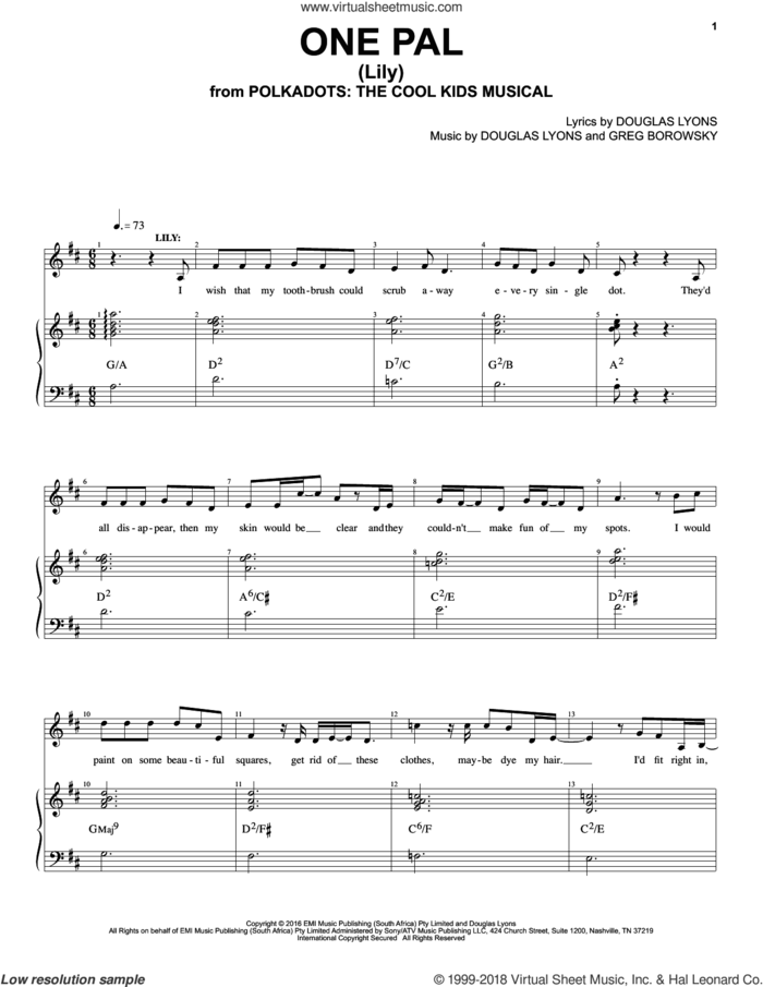 One Pal sheet music for voice and piano by Douglas Lyons & Greg Borowsky, Douglas Lyons and Greg Borowsky, intermediate skill level
