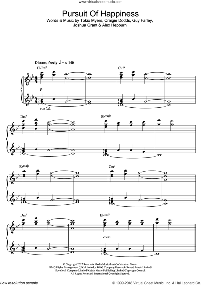 Pursuit Of Happiness sheet music for piano solo by Tokio Myers, Alex Hepburn, Craigie Dodds, Guy Farley and Joshua Grant, classical score, intermediate skill level