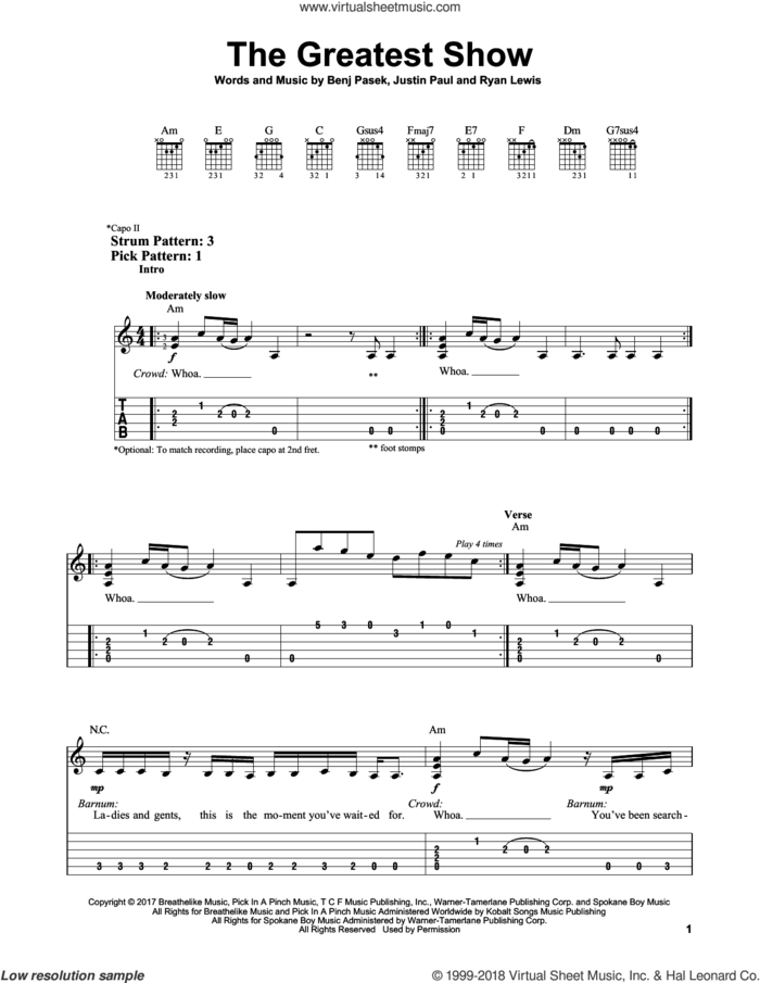 The Greatest Show (from The Greatest Showman) sheet music for guitar solo (easy tablature) by Pasek & Paul, Benj Pasek, Justin Paul and Ryan Lewis, easy guitar (easy tablature)