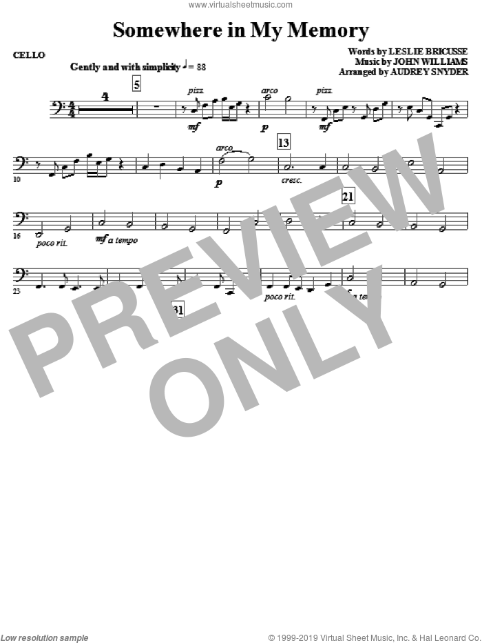 Somewhere in My Memory (arr. Audrey Snyder) sheet music for orchestra/band (cello) by John Williams, Leslie Bricusse and Audrey Snyder, intermediate skill level