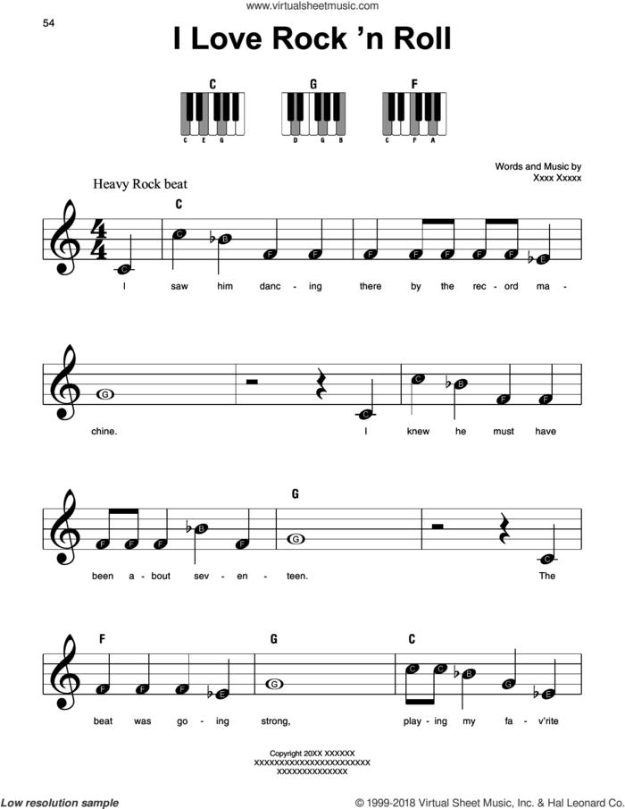 I Love Rock 'N Roll sheet music for piano solo by Joan Jett & The Blackhearts, Alan Merrill and Jake Hooker, beginner skill level