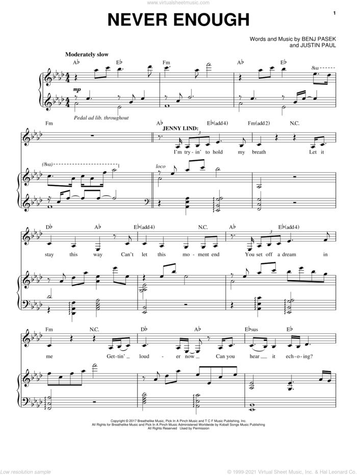 Never Enough sheet music for voice and piano by Pasek & Paul, Benj Pasek and Justin Paul, intermediate skill level