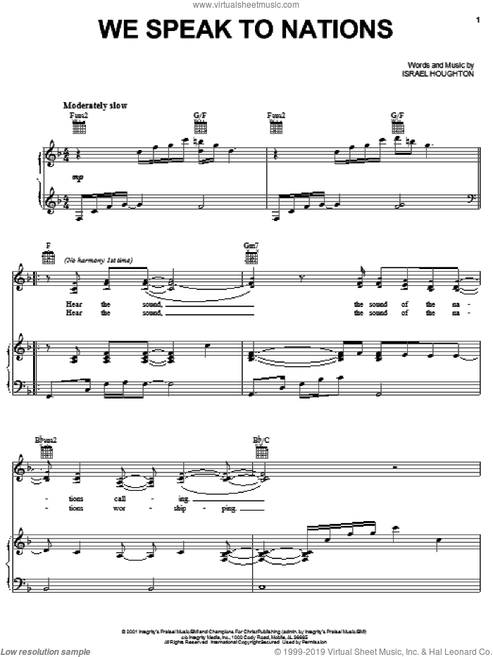 We Speak To Nations sheet music for voice, piano or guitar by Israel Houghton, intermediate skill level