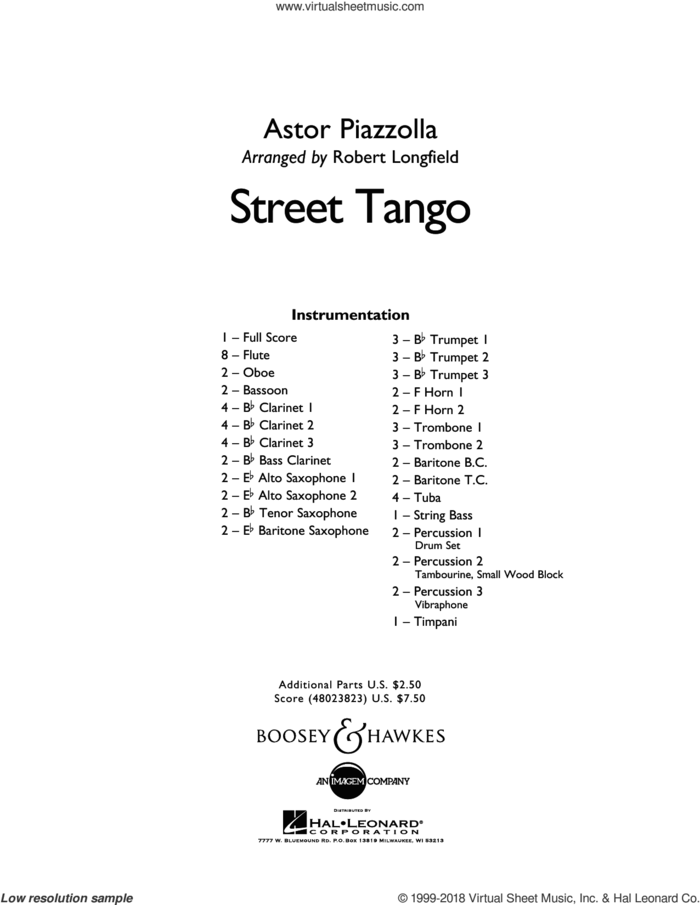 Street Tango (COMPLETE) sheet music for concert band by Robert Longfield and Astor Piazzolla, intermediate skill level