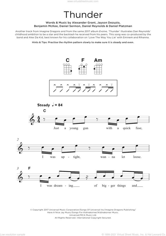 Thunder sheet music for ukulele by Imagine Dragons, Alexander Grant, Benjamin McKee, Daniel Platzman, Daniel Reynolds, Daniel Sermon and Jayson Dezuzio, intermediate skill level