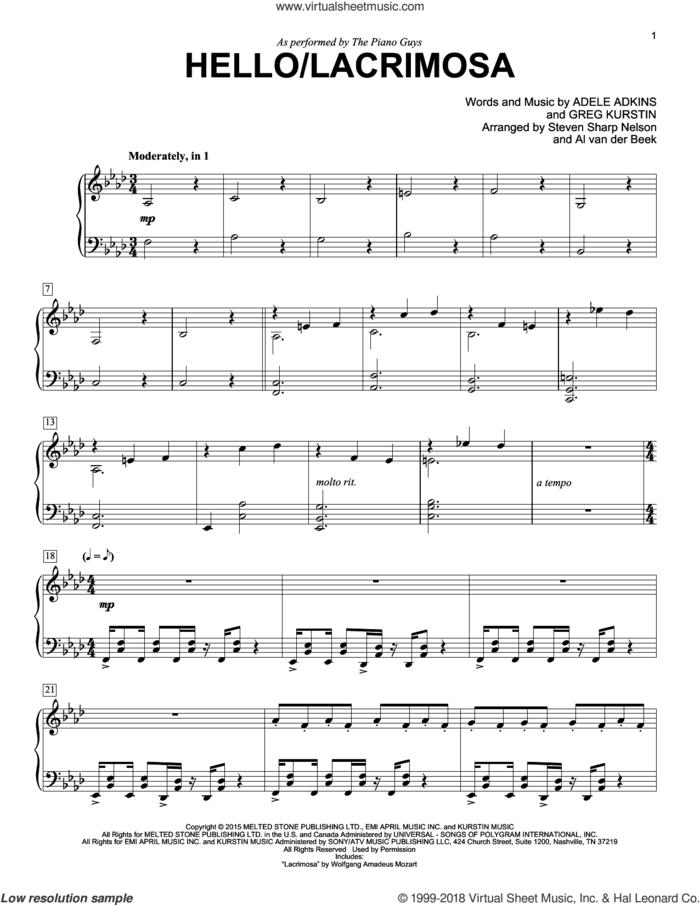 Hello/Lacrimosa sheet music for piano solo by The Piano Guys, Adele, Adele Adkins and Greg Kurstin, intermediate skill level
