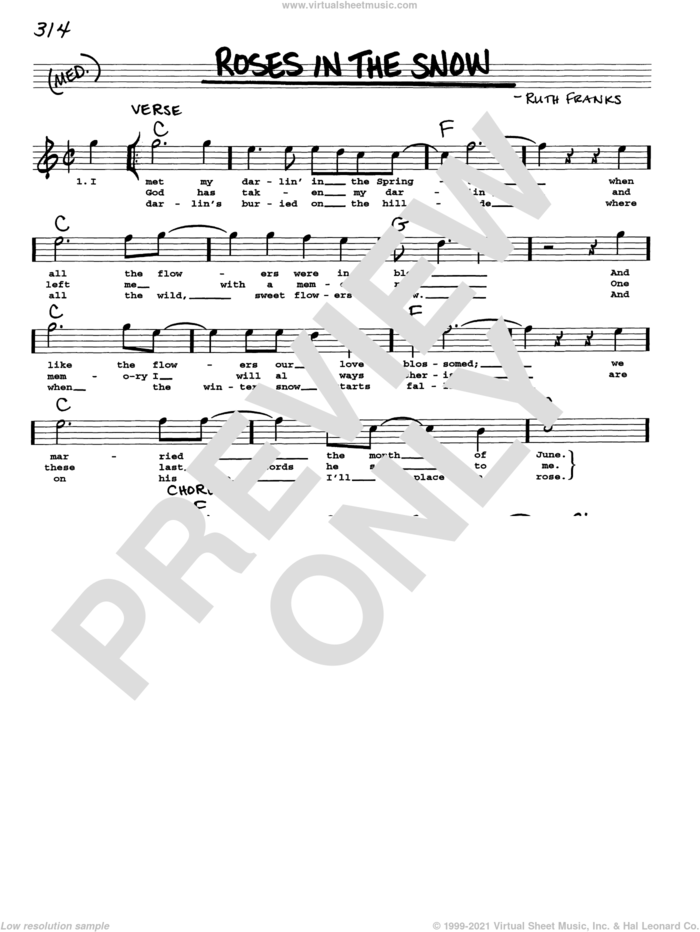 Roses In The Snow sheet music for voice and other instruments (real book with lyrics) by Ruth Franks and Emmylou Harris, intermediate skill level