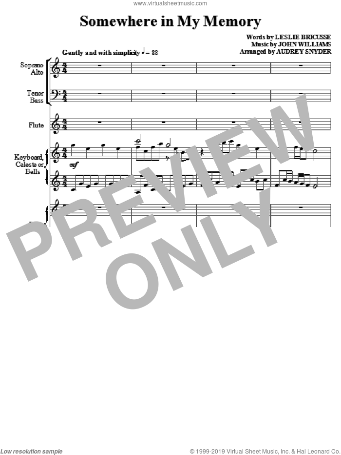Somewhere In My Memory (arr. Audrey Snyder) (COMPLETE) sheet music for orchestra/band (Orchestra) by John Williams, Leslie Bricusse and Audrey Snyder, intermediate skill level