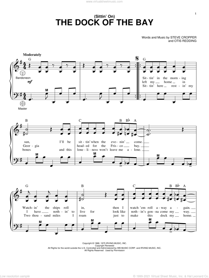 (Sittin' On) The Dock Of The Bay sheet music for accordion by Otis Redding and Steve Cropper, intermediate skill level