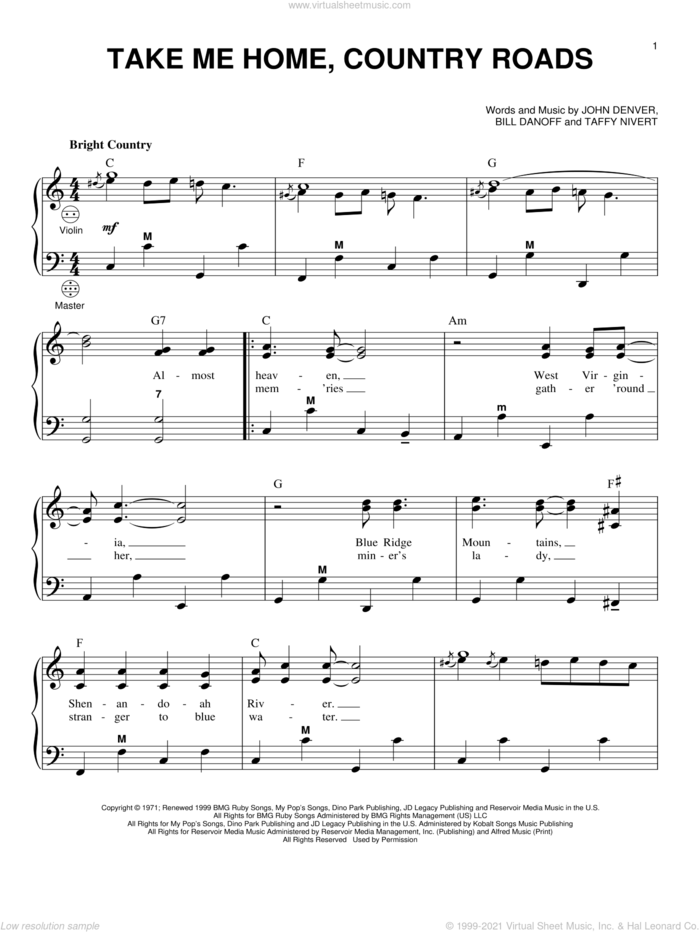 Take Me Home, Country Roads sheet music for accordion by John Denver, Bill Danoff and Taffy Nivert, intermediate skill level