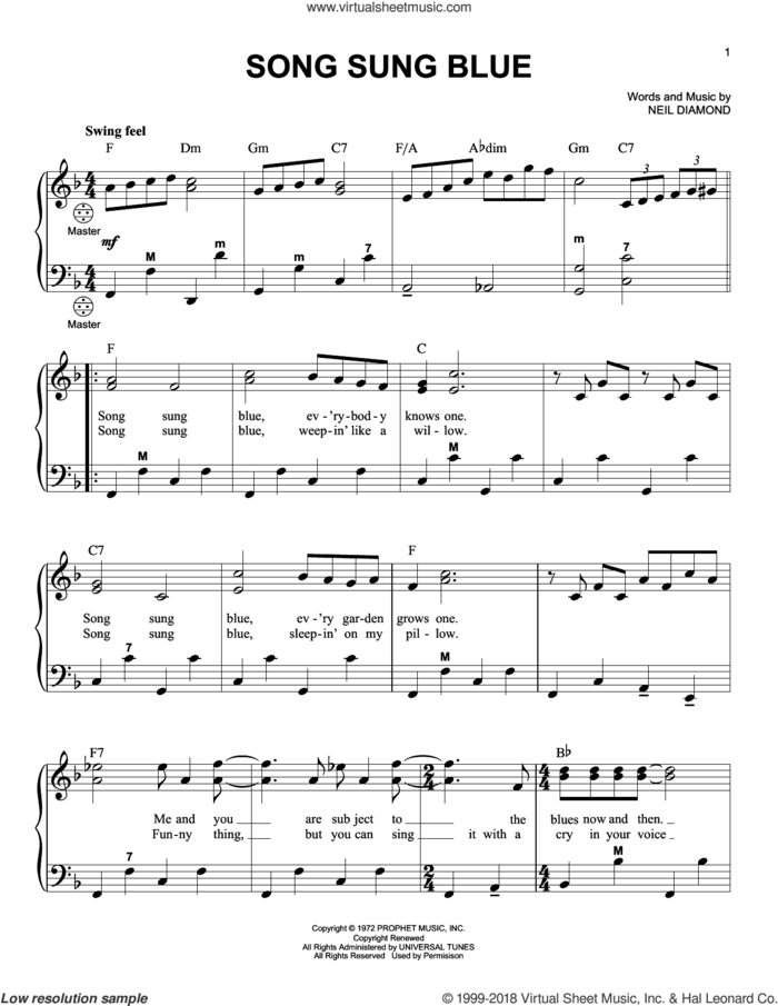 Song Sung Blue sheet music for accordion by Neil Diamond, intermediate skill level