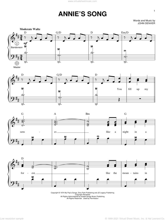 Annie's Song sheet music for accordion by John Denver, intermediate skill level