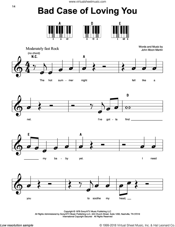 Bad Case Of Loving You sheet music for piano solo by Robert Palmer and John Moon Martin, beginner skill level