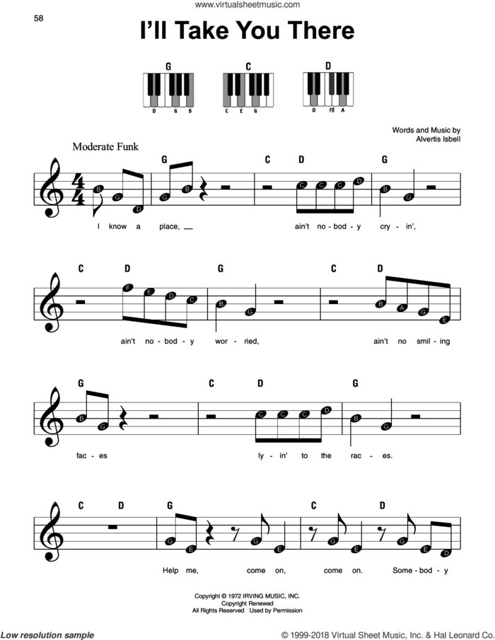I'll Take You There sheet music for piano solo by The Staple Singers and Alvertis Isbell, beginner skill level