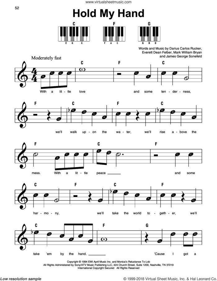 Hold My Hand sheet music for piano solo by Hootie & The Blowfish, Darius Carlos Rucker, Everett Dean Felber, James George Sonefeld and Mark William Bryan, beginner skill level