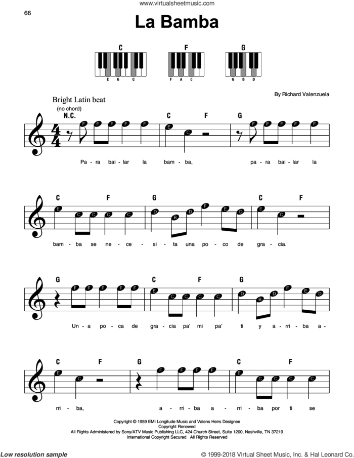 La Bamba sheet music for piano solo by Ritchie Valens, Los Lobos and Richard Valenzuela, beginner skill level