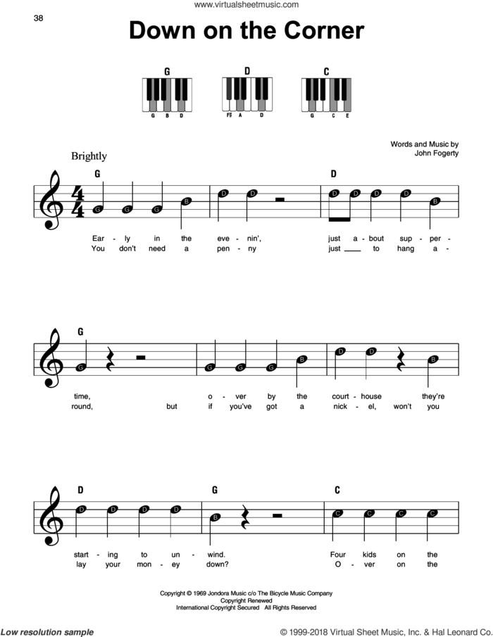 Down On The Corner sheet music for piano solo by Creedence Clearwater Revival and John Fogerty, beginner skill level