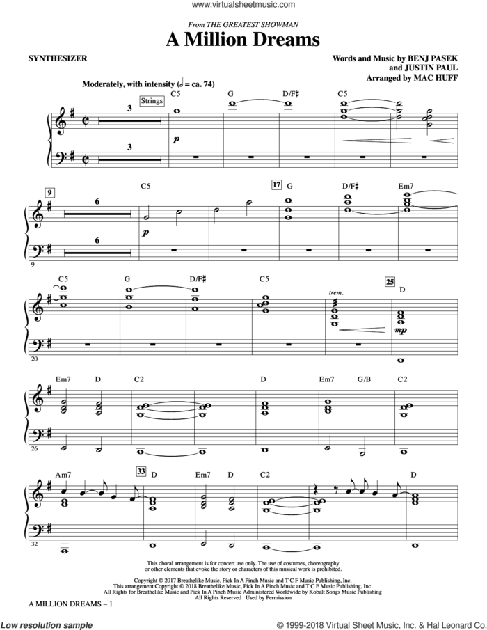 A Million Dreams (from The Greatest Showman) (arr. Mac Huff) (complete set of parts) sheet music for orchestra/band by Mac Huff, Benj Pasek, Justin Paul and Pasek & Paul, intermediate skill level
