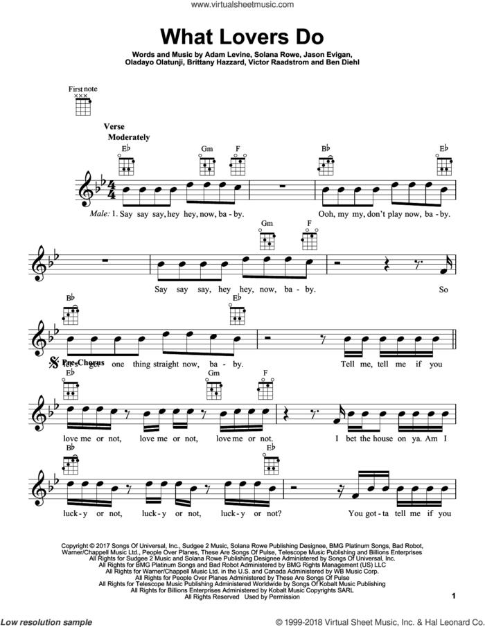 What Lovers Do sheet music for ukulele by Maroon 5, Adam Levine, Benjamin Diehl, Brittany Hazzard, Jason Evigan, Oladayo Olatunji and Solana Rowe, intermediate skill level