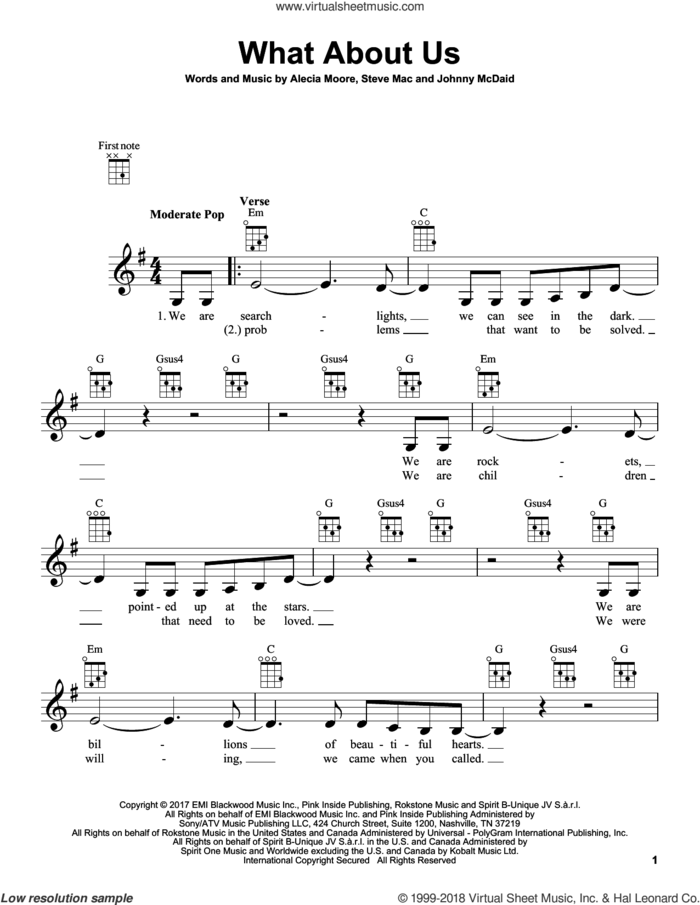 What About Us sheet music for ukulele by Steve Mac, Miscellaneous, Alecia Moore and Johnny McDaid, intermediate skill level