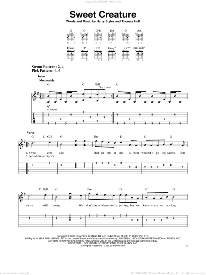 Sweet Creature sheet music for guitar solo (easy tablature) by Harry Styles and Tom Hull, easy guitar (easy tablature)