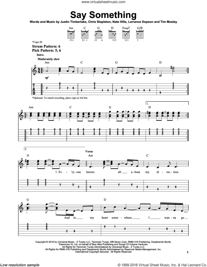 Say Something (feat. Chris Stapleton) sheet music for guitar solo (easy tablature) by Justin Timberlake, Justin Timberlake feat. Chris Stapleton, Chris Stapleton, Larrance Dopson, Nate Hills and Tim Mosley, easy guitar (easy tablature)