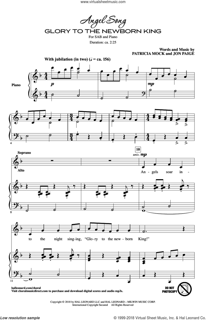 Angel Song (Glory To The Newborn King) sheet music for choir (SAB: soprano, alto, bass) by Patricia Mock and Jon Paige, intermediate skill level