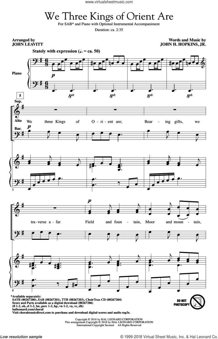 We Three Kings Of Orient Are sheet music for choir (SAB: soprano, alto, bass) by John H. Hopkins, Jr. and John Leavitt, intermediate skill level