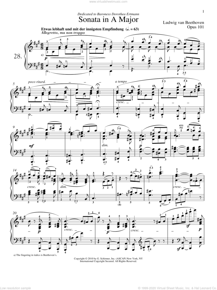 Piano Sonata No. 28 In A Major, Op. 101 sheet music for piano solo by Ludwig van Beethoven and Robert Taub, classical score, intermediate skill level