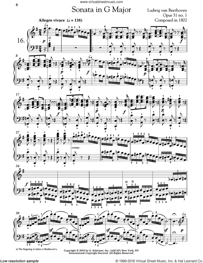 Piano Sonata No. 16 In G Major, Op. 31, No. 1 sheet music for piano solo by Ludwig van Beethoven and Robert Taub, classical score, intermediate skill level