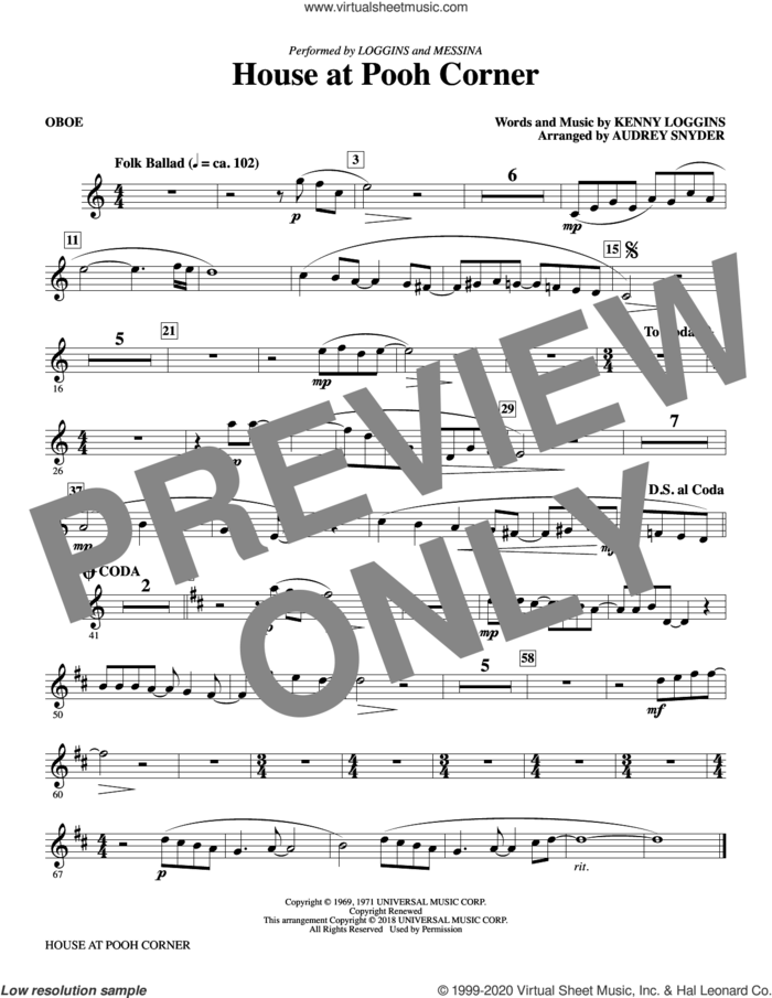 House at Pooh Corner (complete set of parts) sheet music for orchestra/band by Audrey Snyder, Kenny Loggins, Loggins And Messina and Nitty Gritty Dirt Band, intermediate skill level