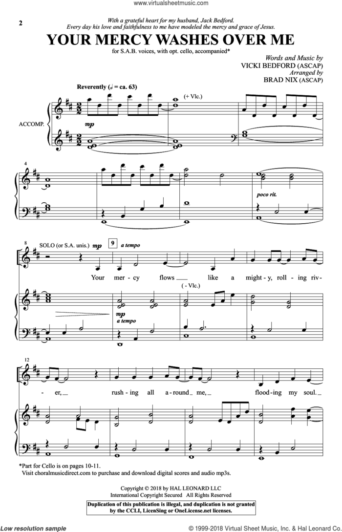 Your Mercy Washes Over Me sheet music for choir (SAB: soprano, alto, bass) by Vicki Bedford and Brad Nix, intermediate skill level