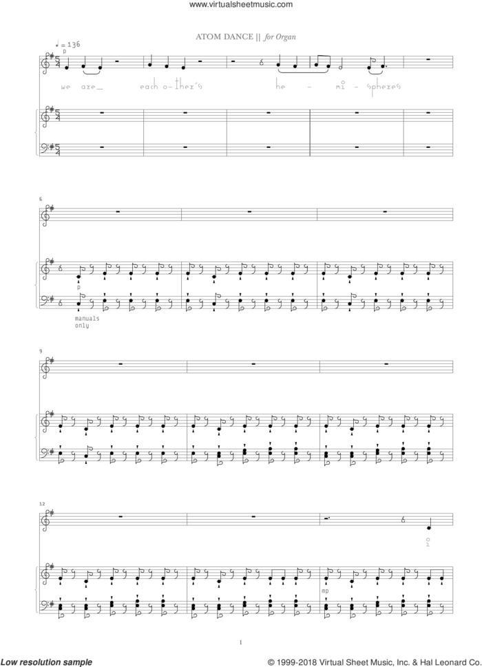 Atom Dance sheet music for organ by Bjork Gudmundsdottir and Oddny Aevarsdottir, intermediate skill level