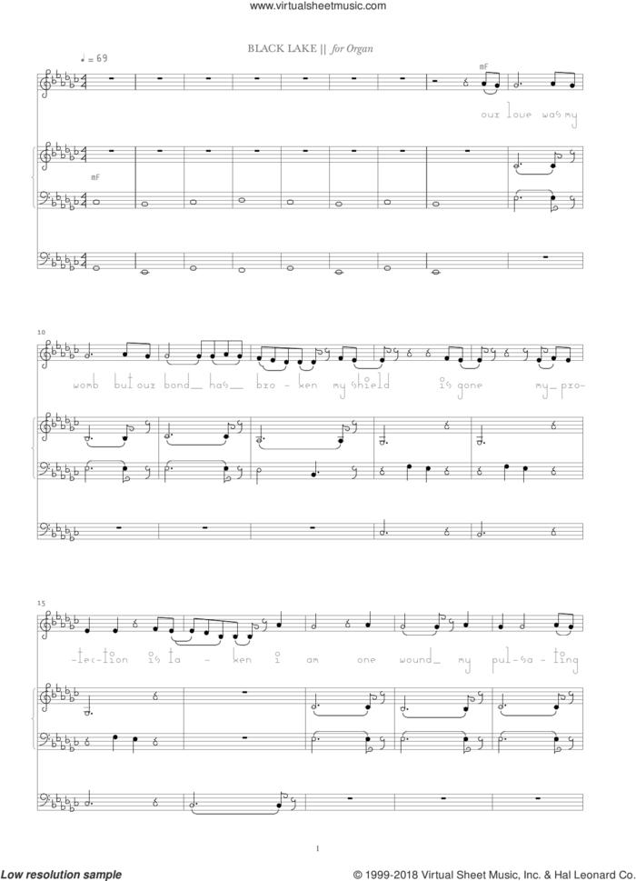 Black Lake sheet music for organ by Bjork Gudmundsdottir, intermediate skill level
