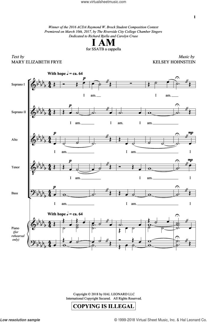 I Am sheet music for choir (SATB: soprano, alto, tenor, bass) by Kelsey Hohnstein and Mary Elizabeth Frye, intermediate skill level