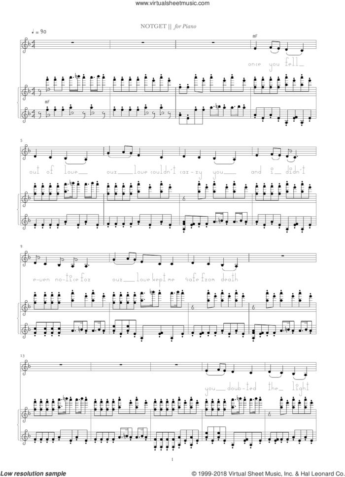 Notget sheet music for voice and piano by Bjork Gudmundsdottir and Alejandro Ghersi, intermediate skill level