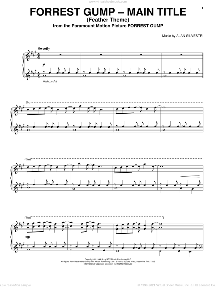 Forrest Gump - Main Title (Feather Theme) sheet music for piano solo by Alan Silvestri and Forrest Gump (Movie), intermediate skill level