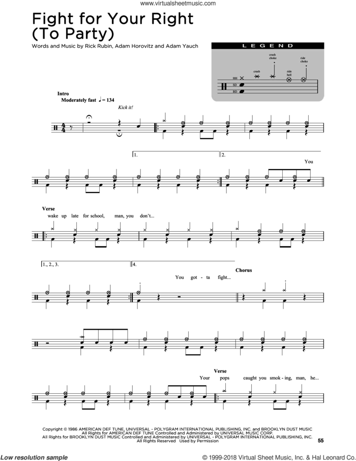 Fight For Your Right (To Party) sheet music for drums (percussions) by Beastie Boys, Adam Horovitz, Adam Yauch and Rick Rubin, intermediate skill level