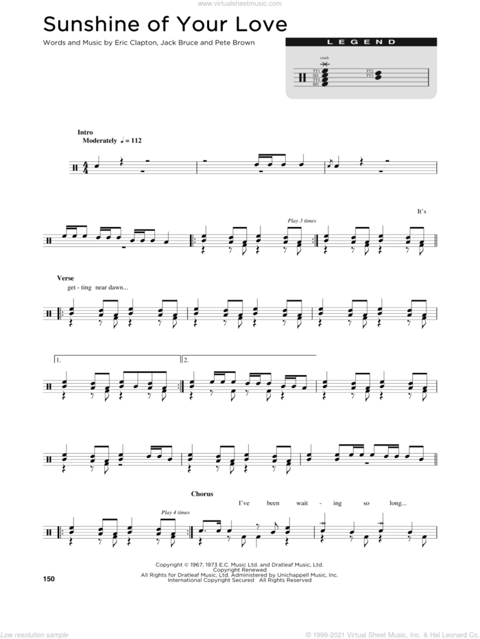 Sunshine Of Your Love sheet music for drums (percussions) by Cream, Eric Clapton, Jack Bruce and Pete Brown, intermediate skill level